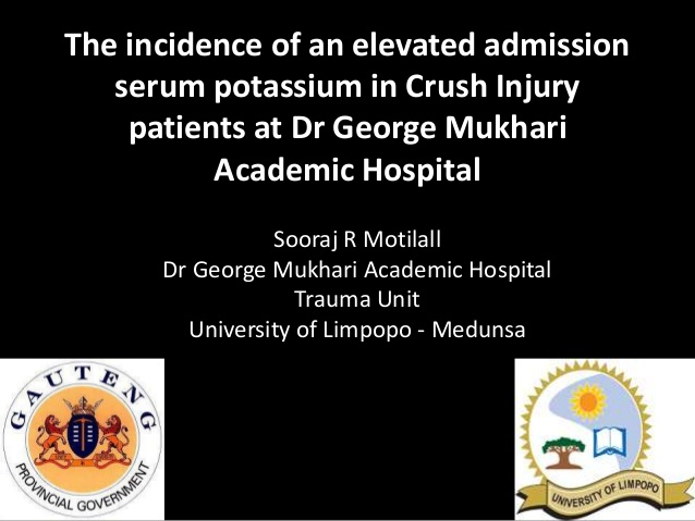The incidence of an elevated admission serum potassium in Crush Injury patients at Dr George Mukhari Academic Hospital
