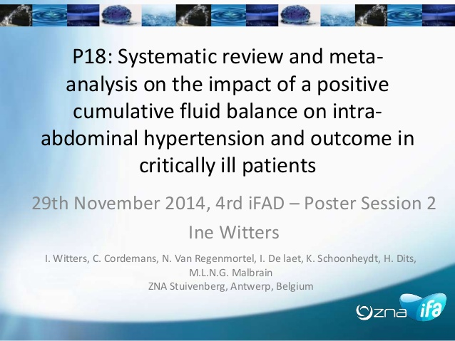Systematic review and meta-analysis on the impact of a positive cumulative fluid balance on intra-abdominal hypertension and outcome in critically ill patients