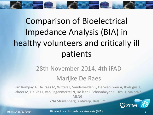 Comparison of Bioelectrical Impedance Analysis (BIA) in healthy volunteers and.