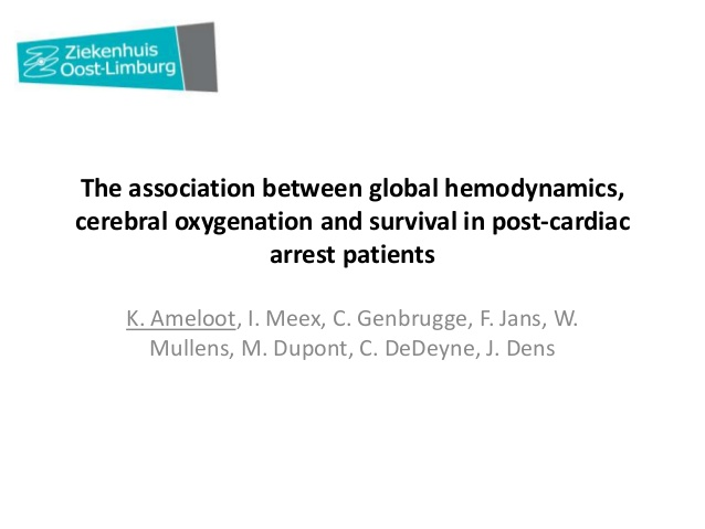 The association between global hemodynamics, cerebral oxygenation and survival in post-cardiac arrest patients