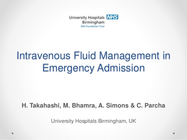 Intravenous Fluid Management in Emergency Admission
