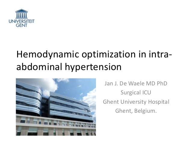 Hemodynamic optimization in intra-abdominal hypertension