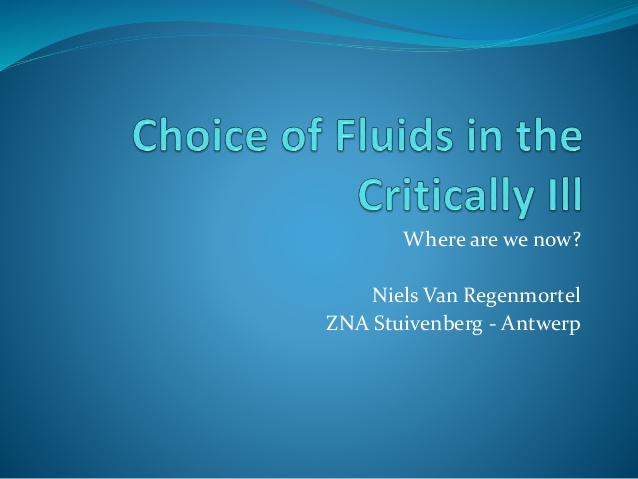 Choice of fluids in the critically ill