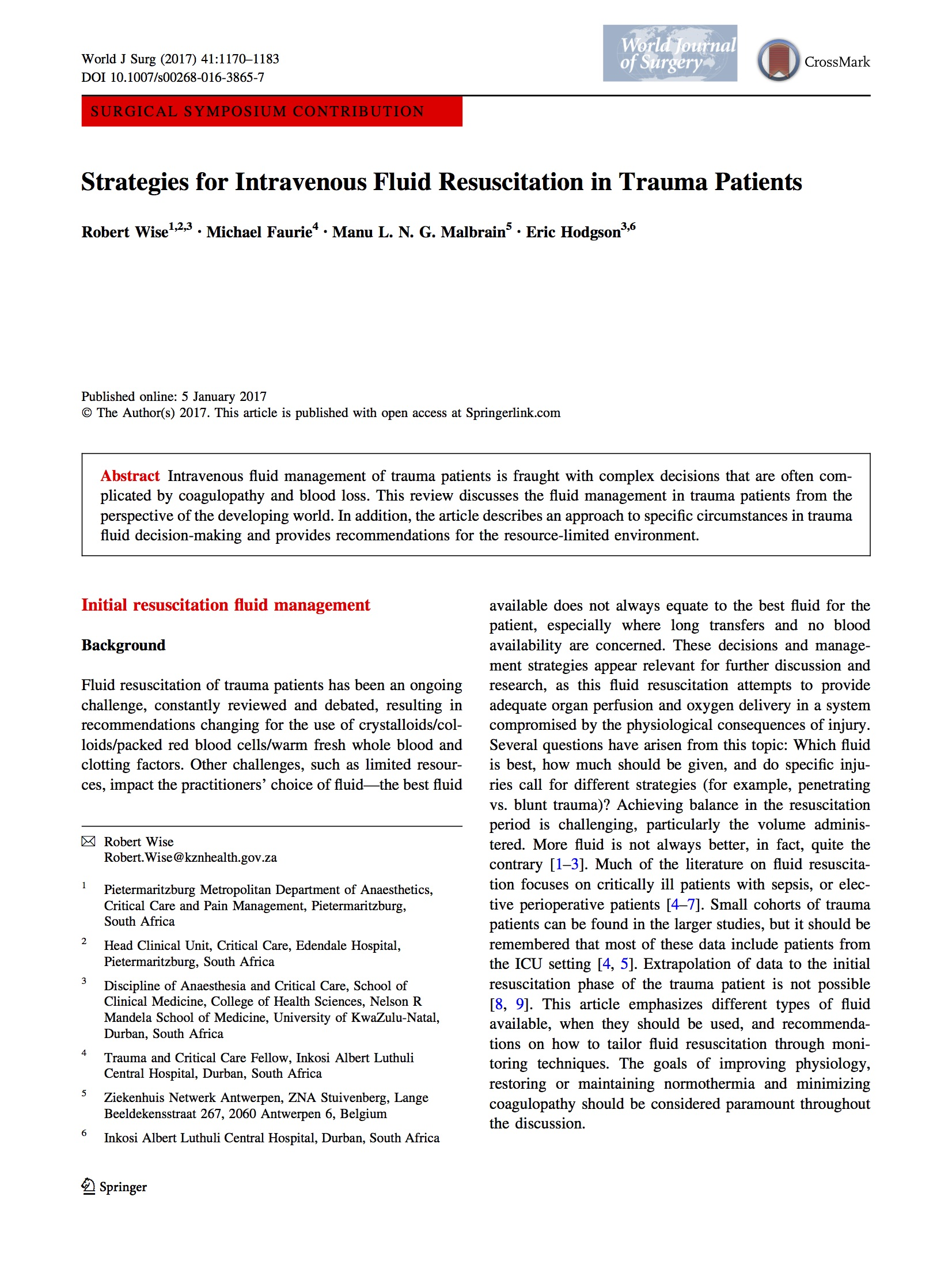 iFA research trauma cover page