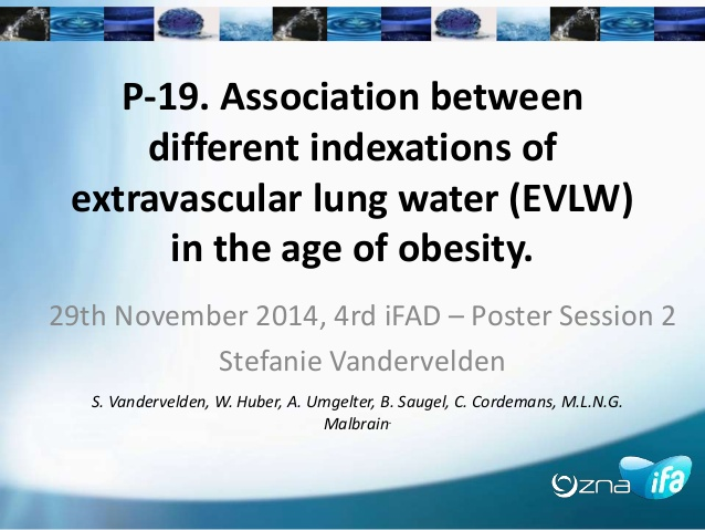 P-19. Association between different indexations of extravascular lung water (EVLW) in the age of obesity.