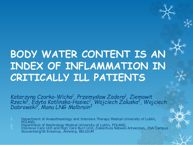 BODY WATER CONTENT IS AN INDEX OF INFLAMMATION IN CRITICALLY ILL PATIENTS