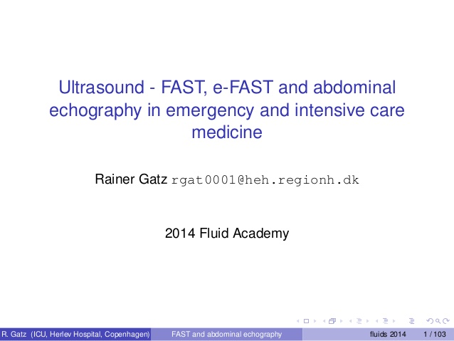 Ultrasound - FAST, e-FAST and abdominal echography in emergency and intensive care medicine