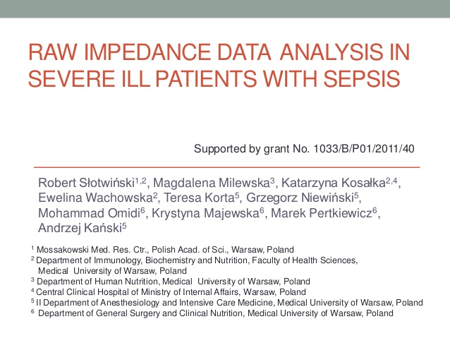 RAW Impedance DATA  analysis in severe ill patients with sepsis