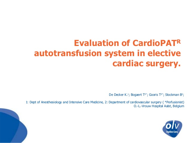Evaluation of CardioPATR autotransfusion system in elective cardiac surgery.